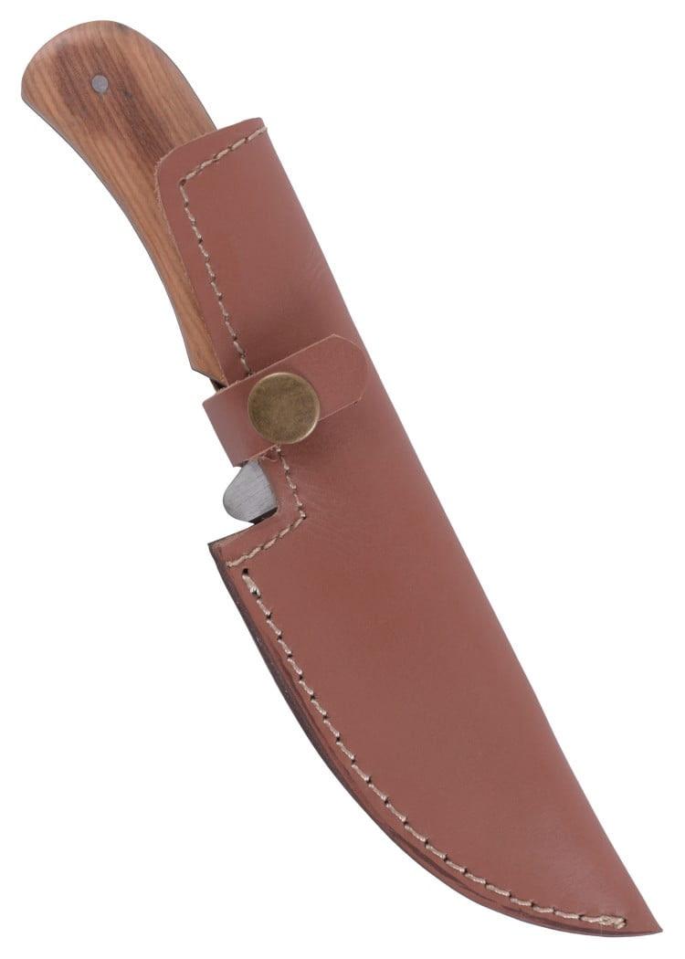Cuchillo con mango de madera de olivo y funda de cuero 0397000400