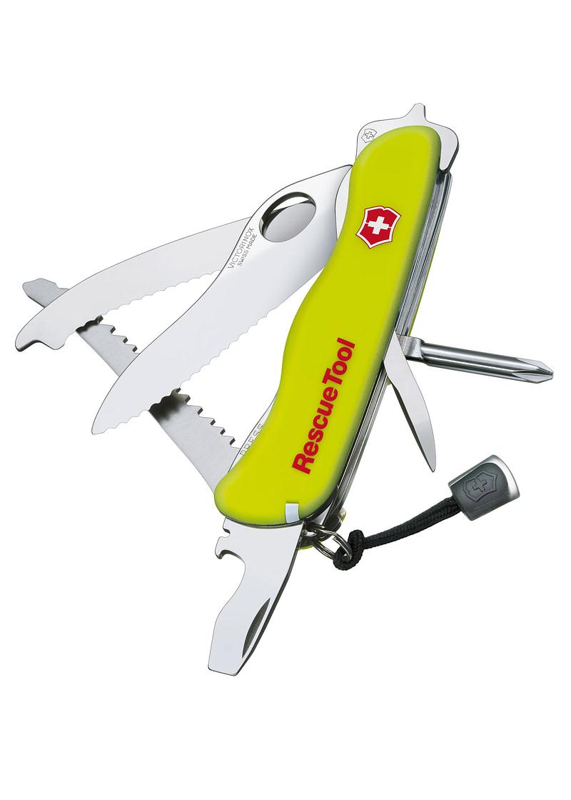 Navaja Multiusos Cortador de Ondas RescueTool, amarillo, estuche de nailon Victorinox VI-0.8623.MWN