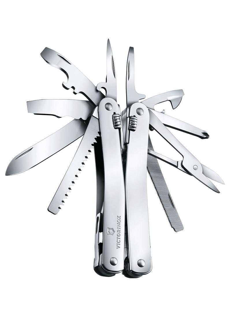 Herramienta multiusos SwissTool Spirit X, en un estuche de cuero Victorinox VI-3.0224.L
