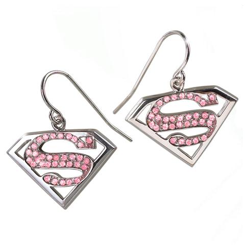 Pendientes Cristal Rosa Supergirl - NN4024