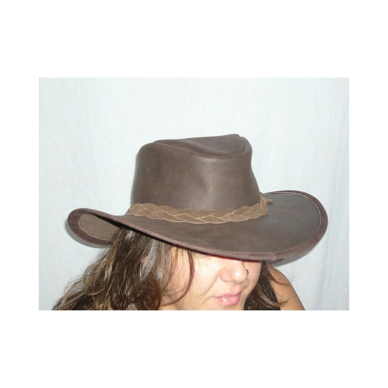sombrero australiano piel marron