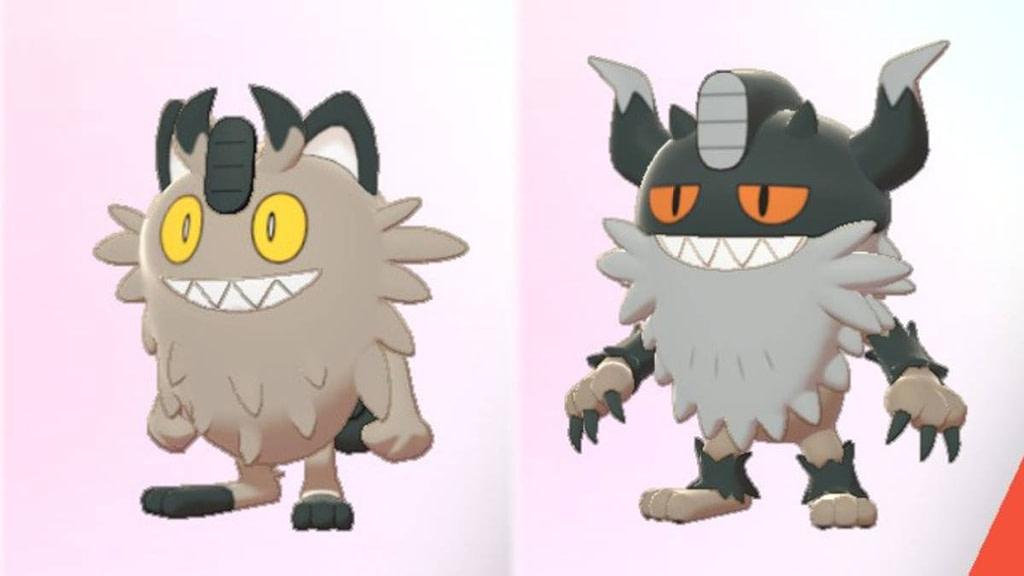 Meowth de Galar (izquierda) – Perrserker (derecha)